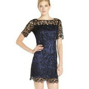 Laundry by Shelli Segal Blue Dress w/ Black Lace